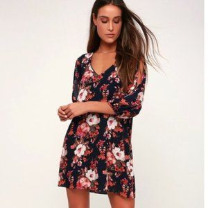 Lulu's Shifting Dears Navy Blue Floral Print Dress